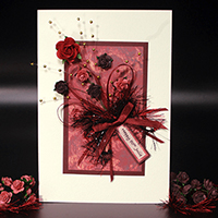 Burgundy Bouquet Hand Made Birthday Card