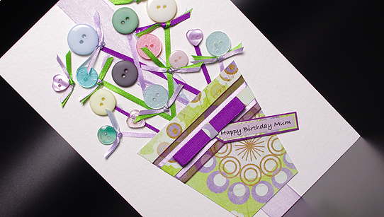 Buttons and Bows Hand Made Birthday Card