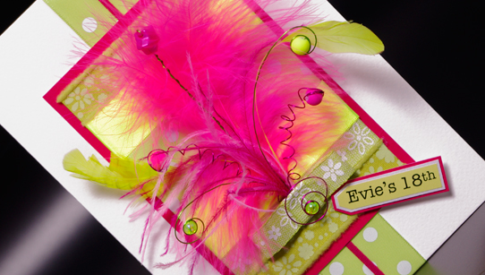 Neon Frivolous Hand Made Birthday Card