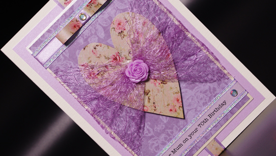 Lavender Rose Hand Made Birthday Card
