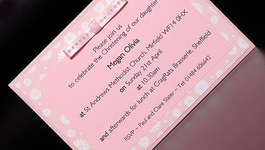 Handmade girls designer christening invitation stopboris Choice Image