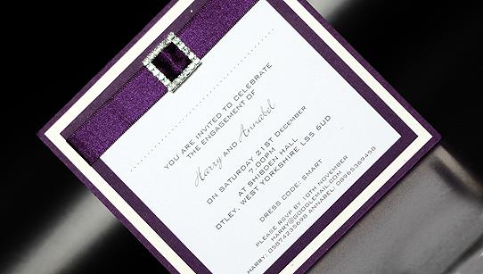 purple diamante handmade party invitation