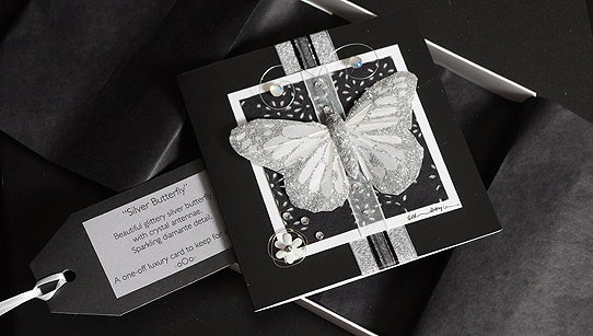 Silver Butterfly Hand Made Luxury Greeting Card Birthday Card