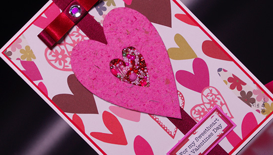 Hearts and Kisses Hand Made Valentines Day Card