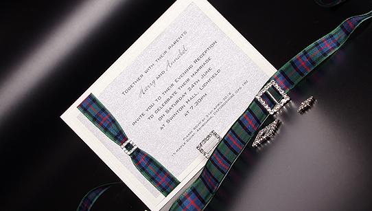 Diamante Handmade Scottish Evening Wedding Invitations