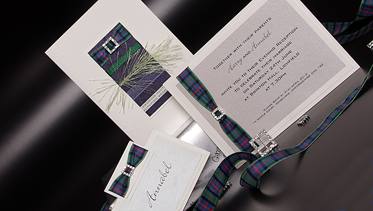 Wedding Invites Scotland: Diamante Handmade Scottish Wedding Invitation Samples