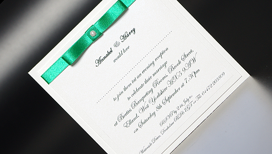 Evening Wedding Reception Invitations: Ribbon Romance Evening Handmade Wedding Invitations