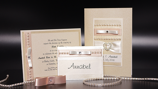 Diamonds and Pearls Hand Made Wedding Invitation Samples