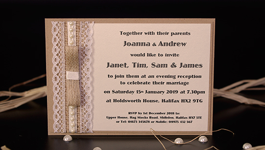 Burlap Lace And Pearl Hand Made Evening Wedding Invitations