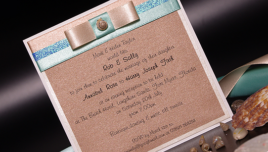 Beach Evening Handmade Wedding Invitations